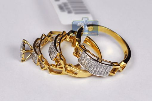 Custom Made Mens Womens Diamond Engagement Three Ring Set 14k Yellow Gold 1.42 Ct