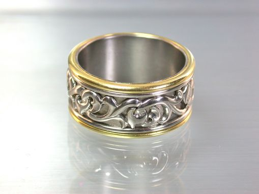 Custom Made Men's Platinum And Gold Ring