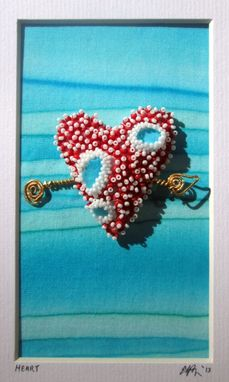 Custom Made Seed Bead Embroidered Heart
