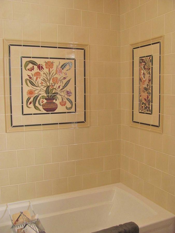 Custom Made Arts Crafts Bath Remodel Decorative Ceramic Tile Panels
