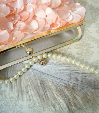 Custom Made Peach Clutch Purse With Handmade Flowers And Pearl Accents