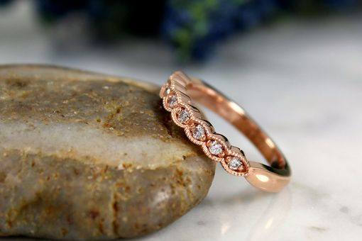 Custom Made Rose Gold Ring, Vintage Inspired,14k Rose Gold, Dainty Diamond Band, Stackable Band
