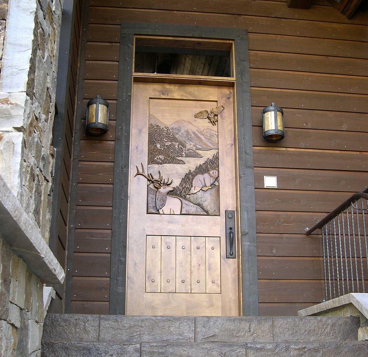 Custom hand carved entry door by christie 39 s wood and glass for Custom made doors