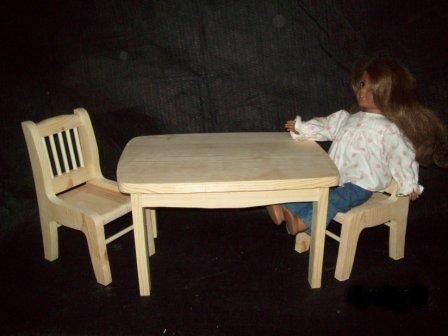 "Custom Made 18"" Doll 3 Pc. Kitchen Table Set"