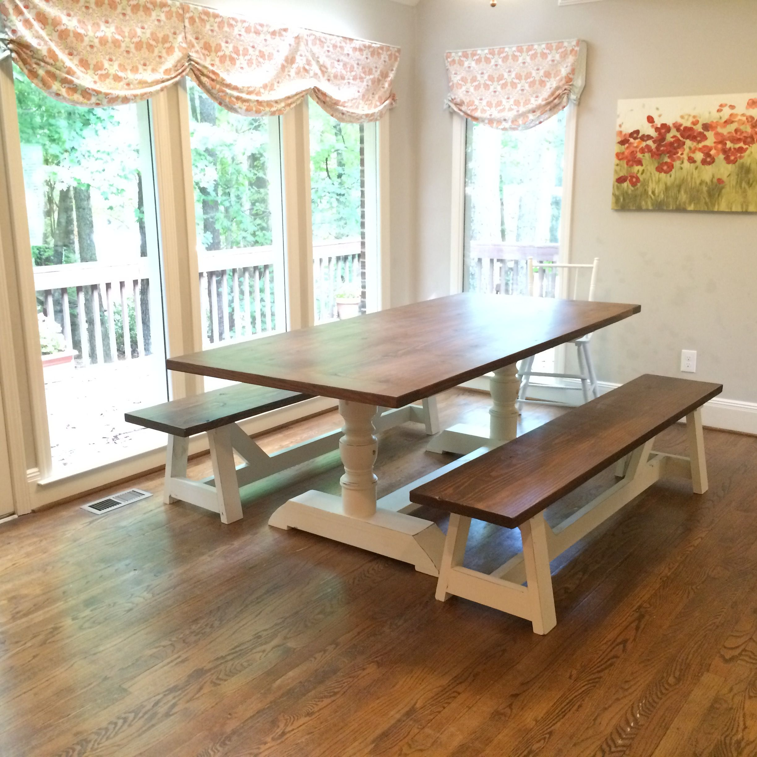 Custom Built Dining Room Tables: Hand Made Pedestal Style Farmhouse Dining Room Table By