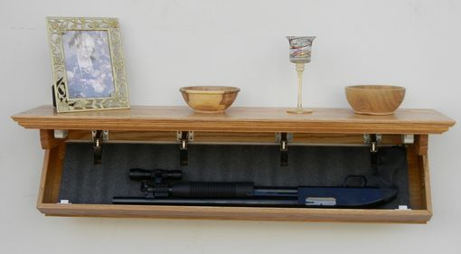 "Custom Made 40"" Oak Floating Shelf With 35"" X 8-3/4"" X 3"" Secret Compartment"
