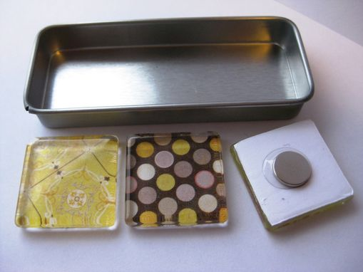 Custom Made Yellow And Grey Glass Tile Magnets In Set Of 3