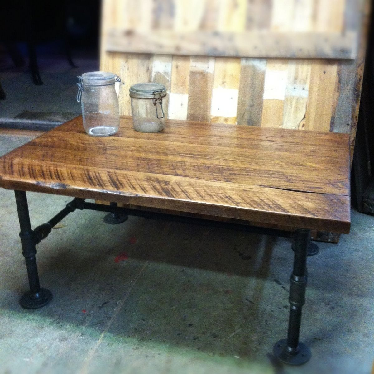Custom Made Cast Iron Pipe Coffee Table By J S Reclaimed Wood Furniture Custommade