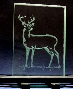 Custom Made Deer Or Trophy Animal Etch Or Etched And Painted Glass