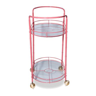 Custom Made Vintage Coral Pink Metal Tea Cart
