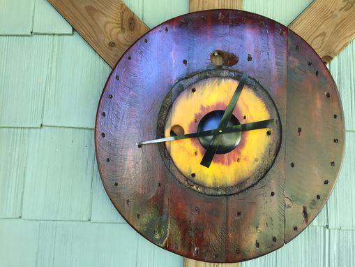 Custom Made Large Wire Spool Clock