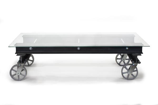 handmade modern industrial glass i-beam coffee table with casters