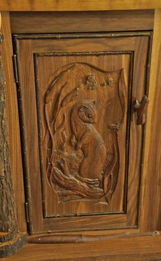 Custom Made Rustic Hutch With Oil Paintings And Carvings