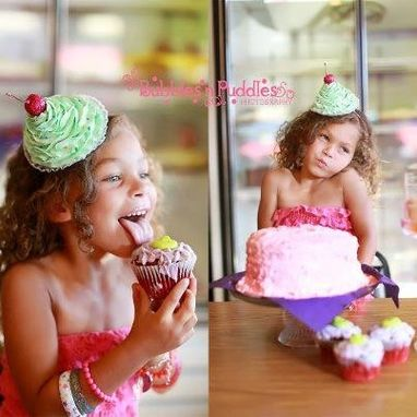Custom Made Happy Birthday Fuax Cupcake Headband Photography Prop