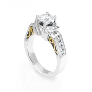 Custom Made Diamond Engagement Ring In 18k White& Yellow Gold, Proposal  Ring, Wedding Ring