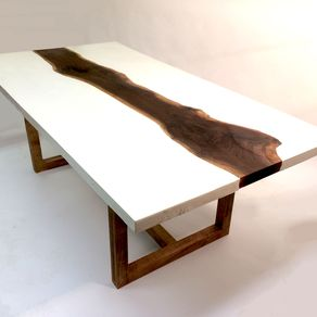 White Concrete And Walnut Dining Or Coffee Table