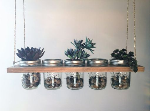 Custom Made Horizontal Hanging Mason Jar Planter//Storage//Decoration