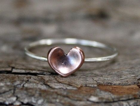 Custom Made Dainty Rustic Copper Heart Ring - $30
