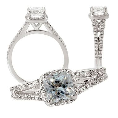 Custom Made 18k White Gold Diamond Engagement Ring Semi-Mount, Holds A 5.5mm Princess Cut