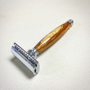 Custom Made Handmade Safety Razor With Zebrawood Handle