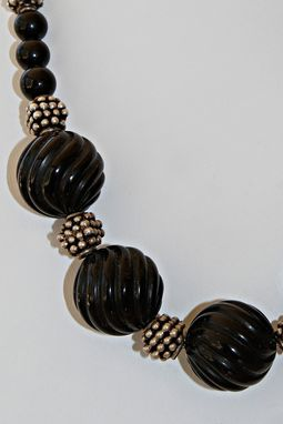 Custom Made A Necklace Of Large Scrolled Black Onyx Beads W/ Wonderful Large Nailhead Bali Sterling Silver Beads