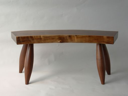 Custom Made Walnut Natural Edge Slab Bench