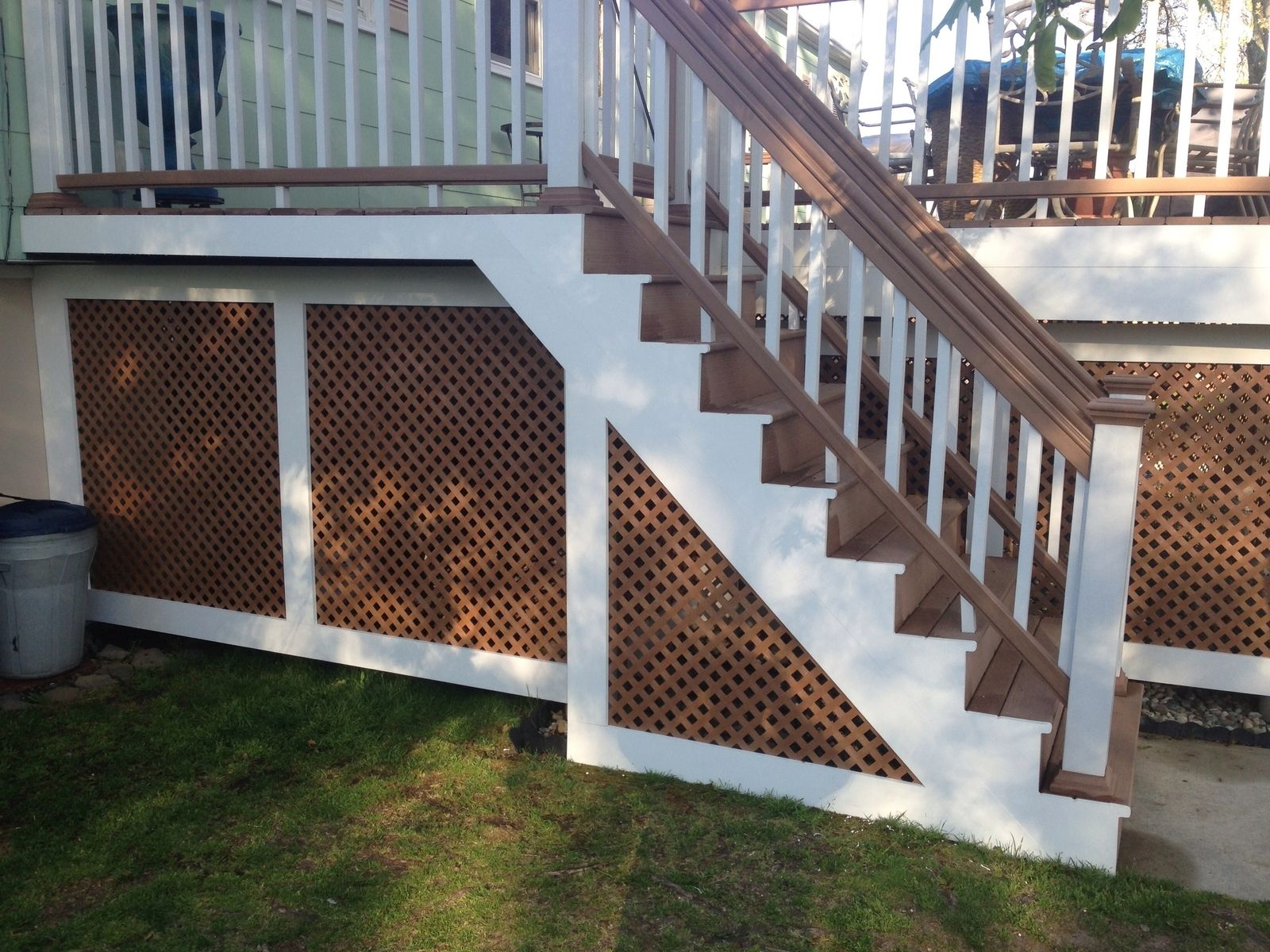 Custom azek and lattice porch enclosure by cla woodworking for Outdoor lattice
