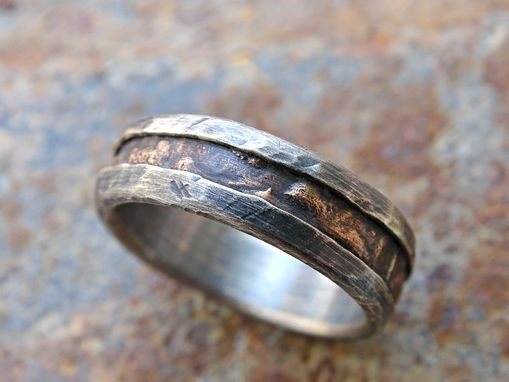 cool mens ring alternative wedding band rugged mens wood grain ring bronze silver