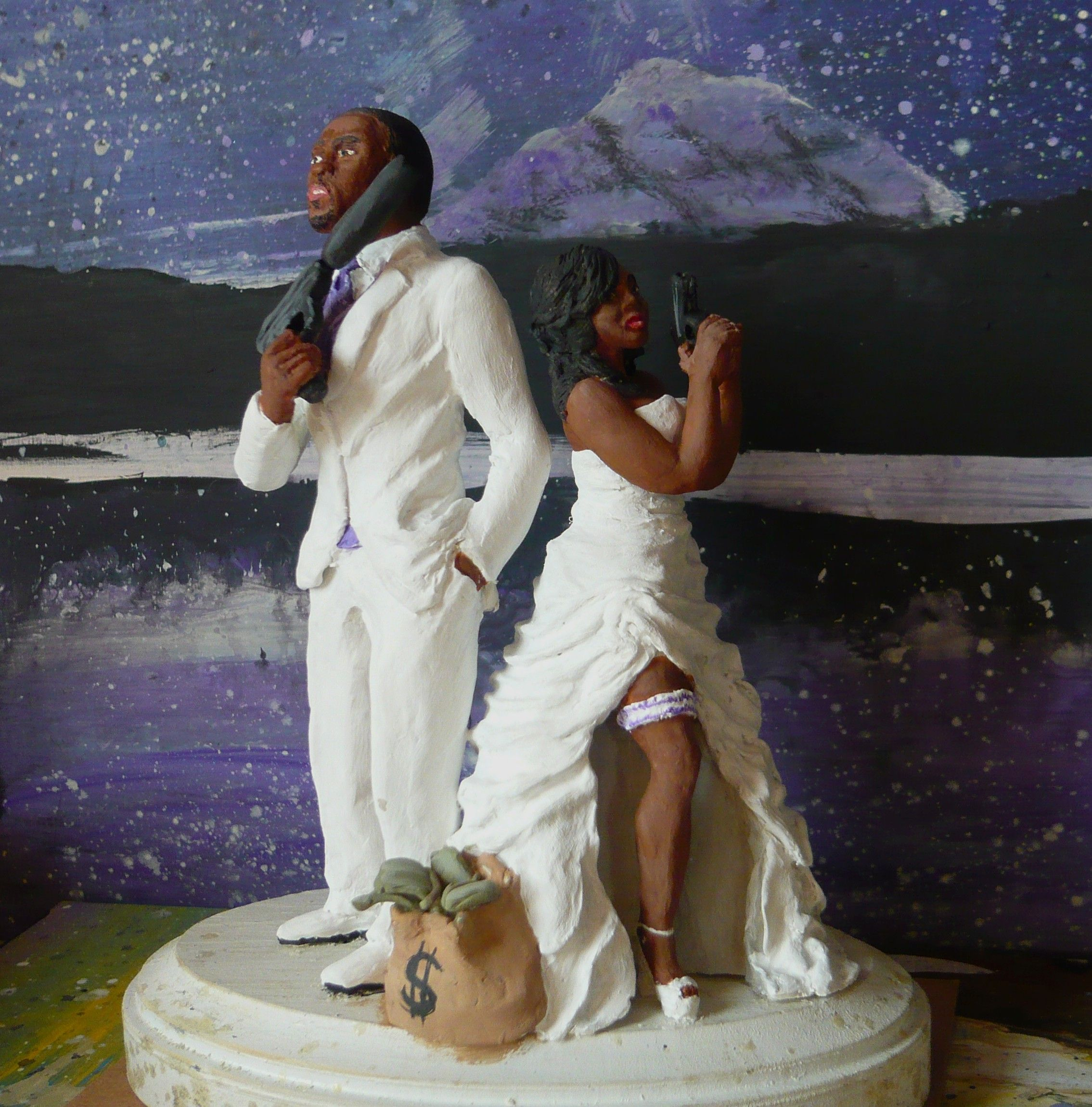 Funny Wedding Cake Toppers African American: Buy A Hand Made Custom Wedding Cake Topper, Made To Order