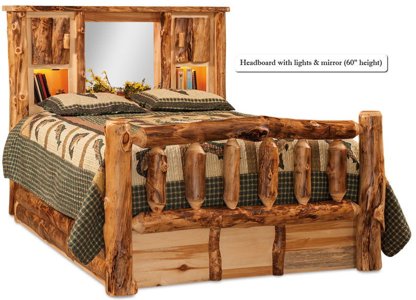 Buy a hand crafted american made rustic pine log bed with for American made beds
