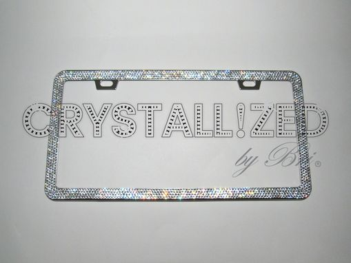 Custom Made Crystallized Bling License Plate Frame Made With Swarovski Crystals - Any Color!