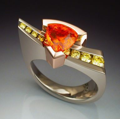 Custom Made White Gold Ring With Spessartite Garnet And Diamonds