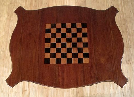 Custom Made Walnut Chippendale Chess/Checkers Game Table