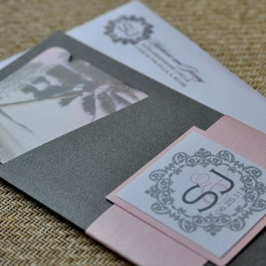 Custom Made Design Fee - Boarding Pass Invitation Or Save The Date (Coral Damask, Chocolate Palms Wth Lime)