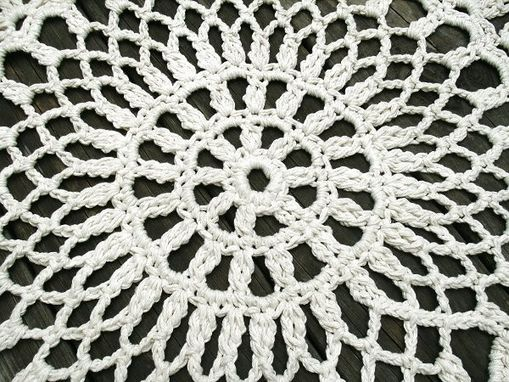 "Custom Made Cotton Crochet Rug In Large 42"" Circle Pineapple Lacy Pattern"