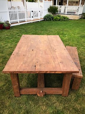 Custom Made Reclaimed Wood Farm Table And Bench