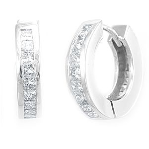 Custom Made Princess Diamond Hoop Earrings In 14k White Gold, Diamond Hoop Earrings, Ladies Earrings