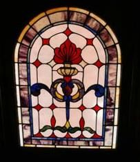Custom Made Traditional Flame Stained Glass Window