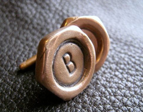 Custom Made Hex Nut Shaped Cuff Links In Solid Bronze With Single Letter Monogram