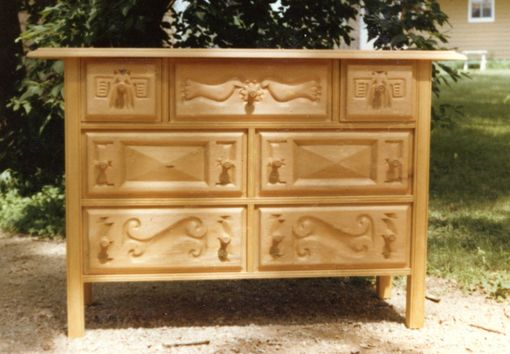 Custom Made Hand-Carved Mexican Wooden Drawer Chest