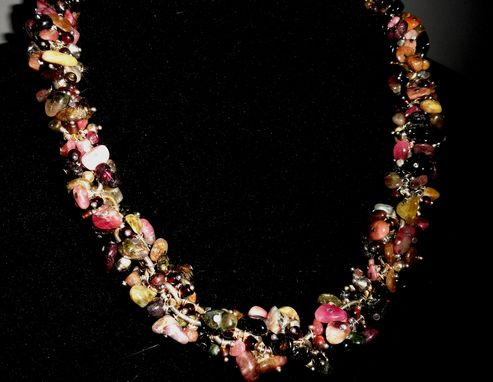 Custom Made Tourmaline Chunk, Red Tigers Eye, Seed Bead Necklace
