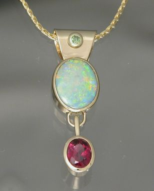Custom Made 14kt And 18kt Yellow Gold Opal Green Diamond And Rubelite