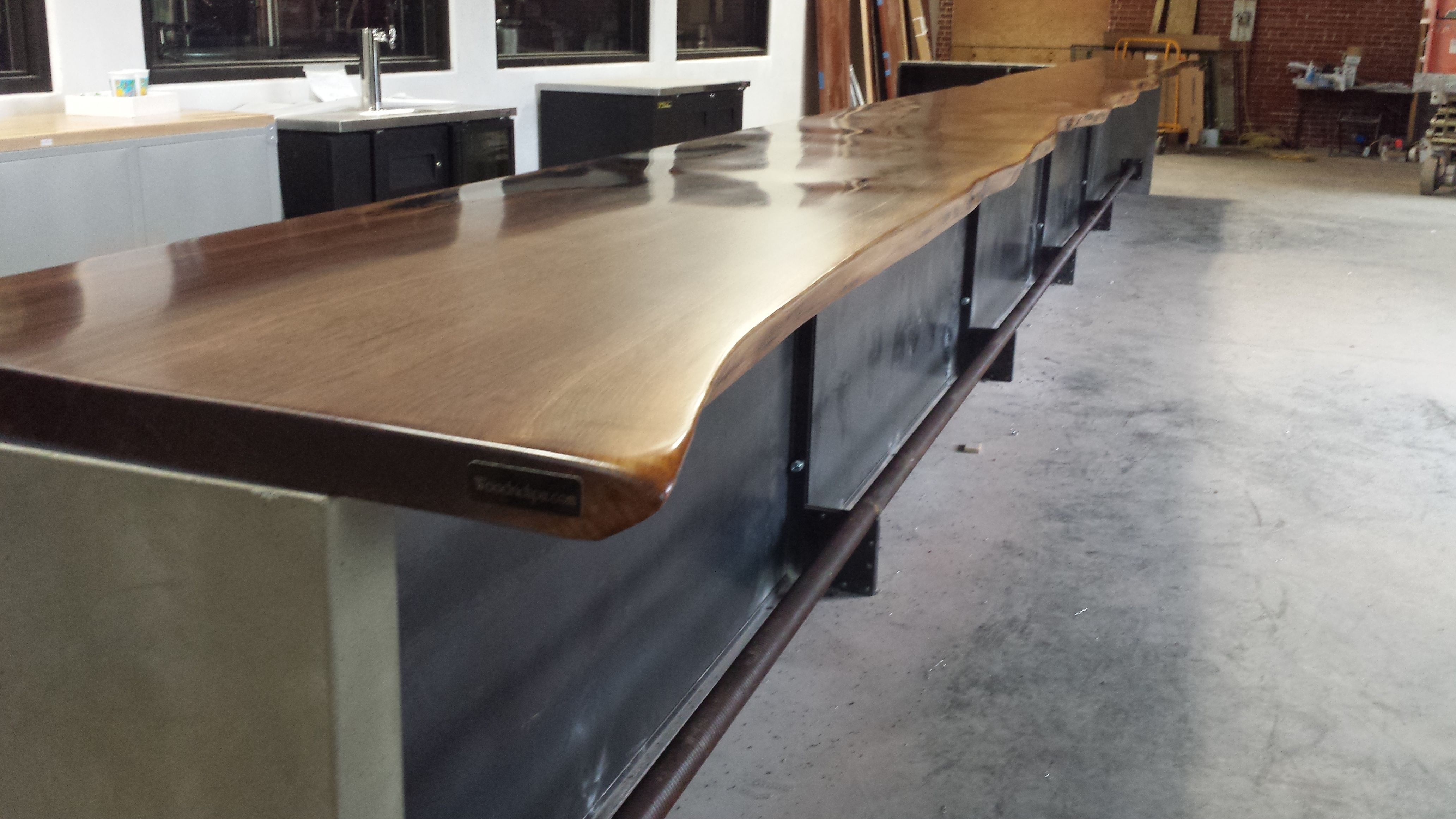Custom made commercial live edge bar tops walnut cherry for Wood slab bar top