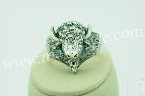 Custom Made Sterling Silver American Buffalo Bison Animal Ring