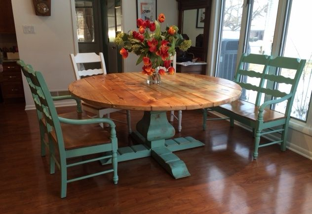 Custom reclaimed wood round urn pedestal farmhouse table Pedestal farmhouse table plans