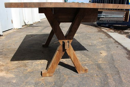 Custom Made Salvaged Oak Top With Tressel Base