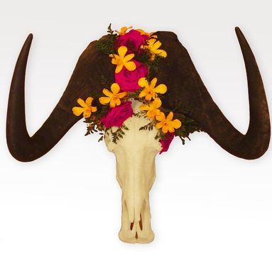 Custom Made Floral Wildebeest Skull