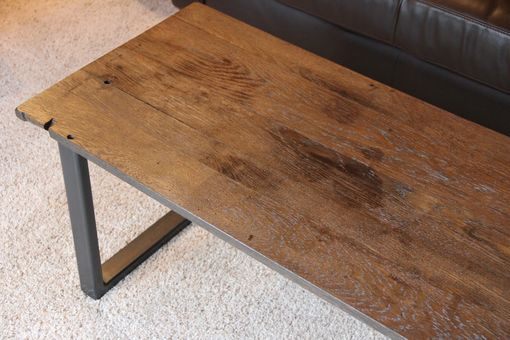 Custom Made Rustic Industrial Coffee Table Made Of Reclaimed Weathered Oak And Blackened Steel