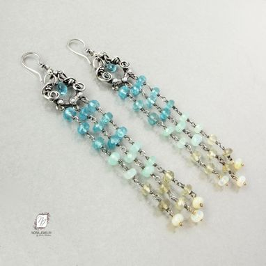 Custom Made Sterling Silver And Gemstone Ombre Tassel Earrings