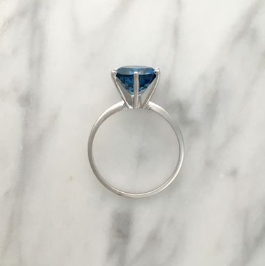 Custom Made London Blue Topaz 6 Prong Solitaire Engagement Ring